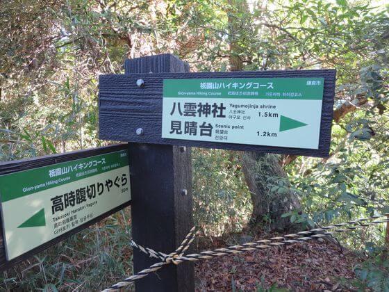 祇園山ハイキングコース 案内板