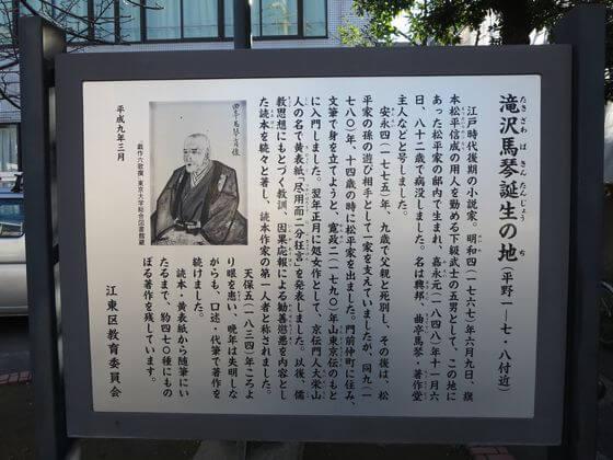 滝沢馬琴誕生の地 説明