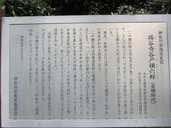 楊谷寺横穴墓群 説明版