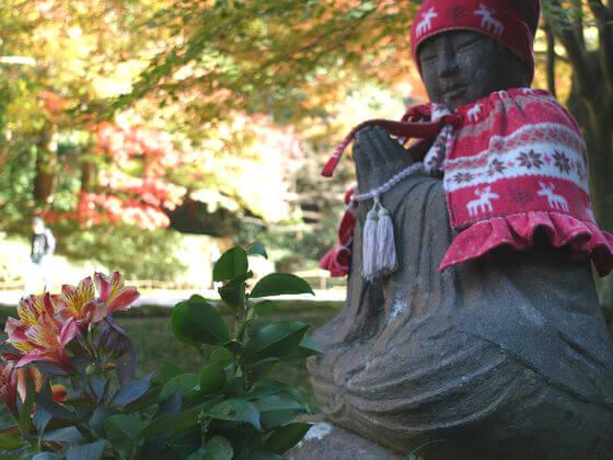 明月院 赤地蔵 紅葉