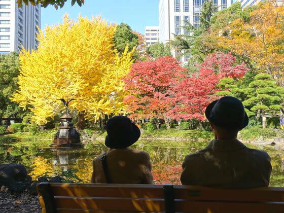 日比谷公園 鶴の噴水 紅葉