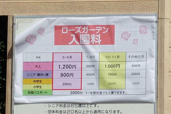 京成バラ園 料金