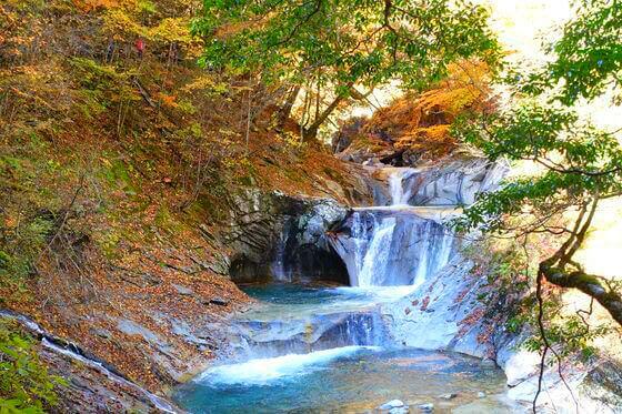 西沢渓谷 七ツ釜五段の滝 紅葉