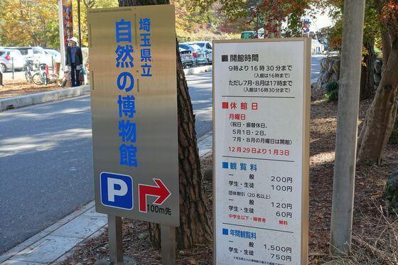埼玉県立自然の博物館 駐車場