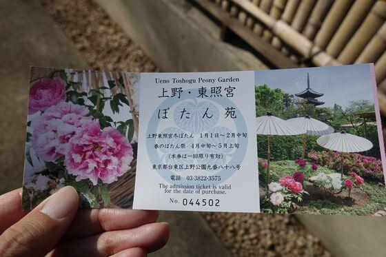 上野東照宮ぼたん苑 料金