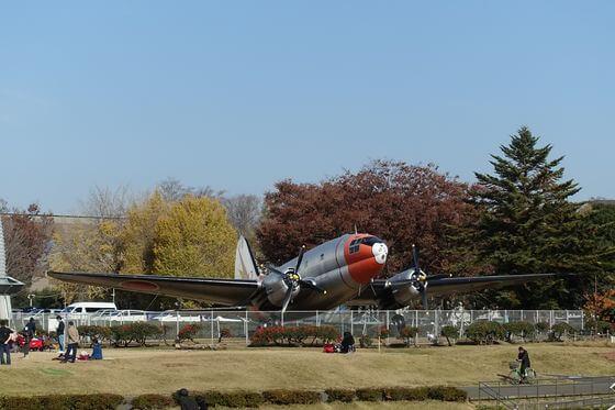 航空公園 飛行機 紅葉