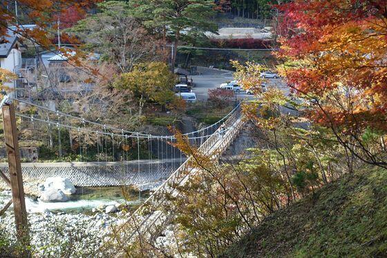 塩原温泉 七つ岩吊り橋 紅葉