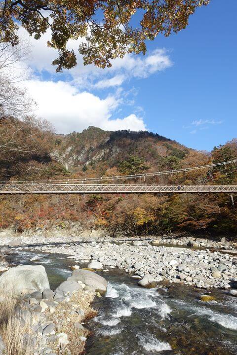 箒川 七ツ岩吊橋 紅葉