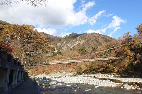 七ツ岩吊橋 紅葉 見頃