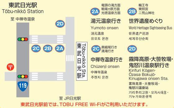 東武日光駅 バス乗り場