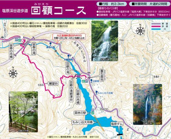 塩原渓谷遊歩道 ハイキング 地図