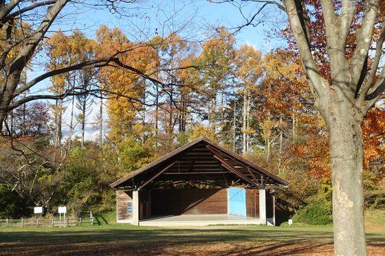 アルプス公園 野外ステージ 紅葉
